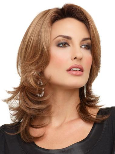 Medium Wavy Lace Front Brown Fashionableable Wigs