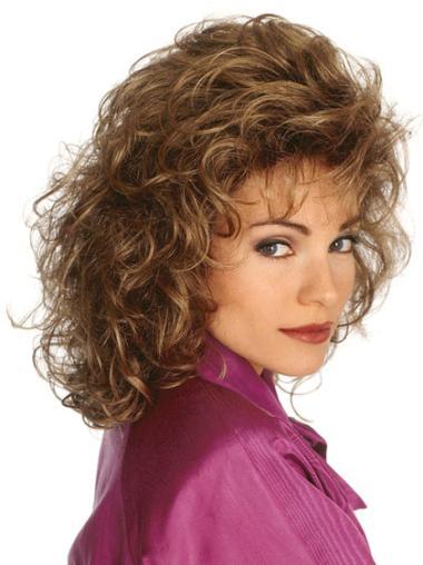 Medium Curly Capless Brown Discount Wigs