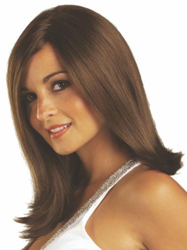 Medium Straight Capless Brown Top Wigs