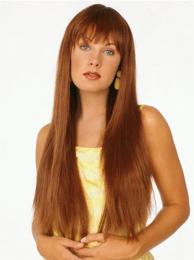 Long Straight Capless Auburn Discount Wigs