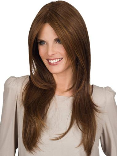 Long Straight Capless Brown Soft Wigs