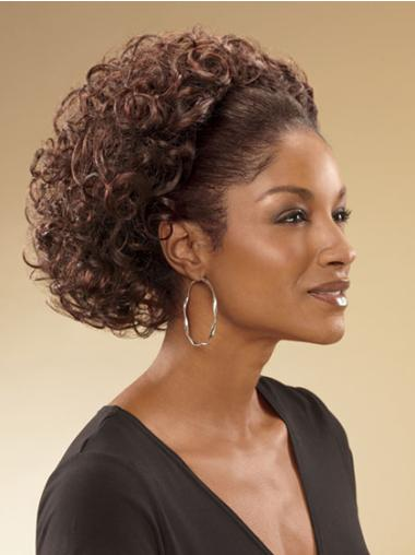 3/4 Top Brown Capless Curly Wigs