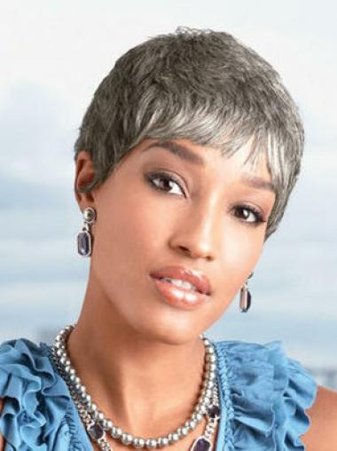 Short Straight Grey Capless Discount Wigs