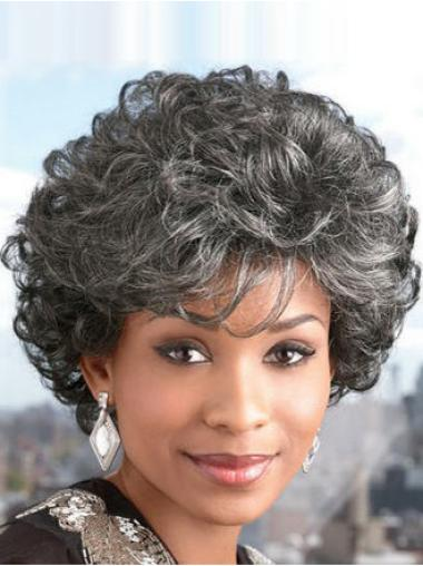Short Curly Grey Capless Top Wigs