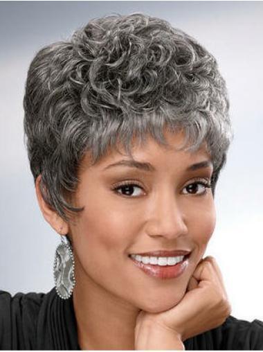 Short Wavy Grey Capless Fashionable Wigs