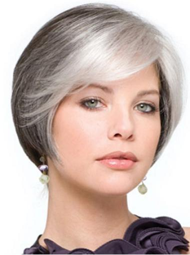 Short Straight Grey Lace Front Flexibility Wigs
