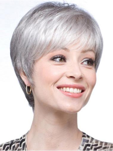 Short Straight Grey Lace Front Cheapestest Wigs