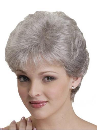 Short Straight Grey Capless Style Wigs