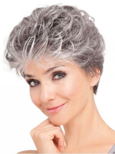 Short Wavy Grey Lace Front Graceful Wigs