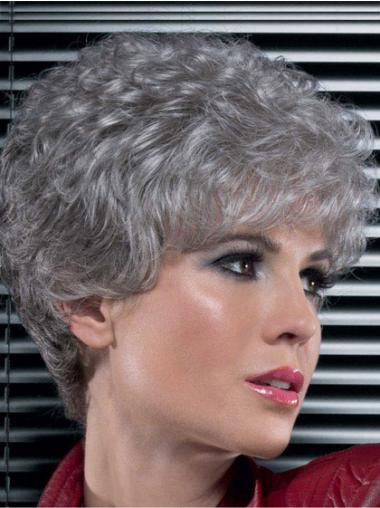 Short Curly Grey Lace Front Great Wigs