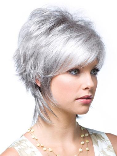 Short Straight Grey Lace Front Cheapest Wigs