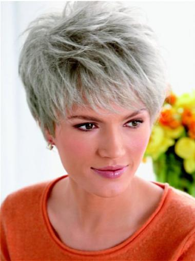 Short Straight Grey Lace Front Best Wigs