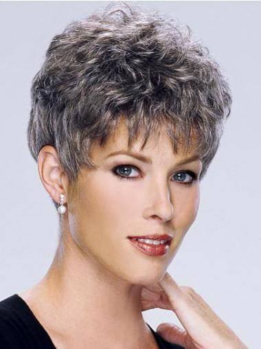 Short Curly Grey Capless Online Wigs