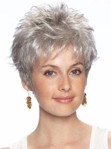 Short Wavy Grey Lace Front Online Wigs
