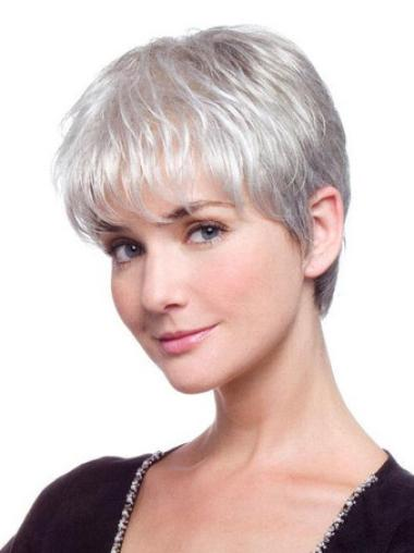 Short Straight Grey Lace Front Hairstyles Wigs