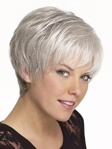 Synthetic Grey Straight Capless Durable Wigs