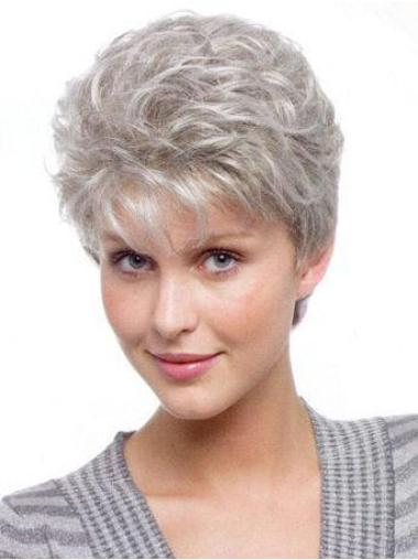 Synthetic Grey Curly Capless Discount Wigs