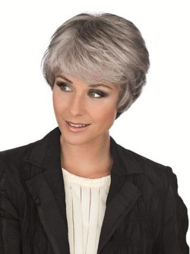 Synthetic Grey Straight Capless Flexibility Wigs
