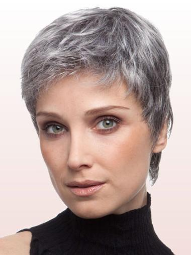 Synthetic Grey Straight Lace Front Convenient Wigs