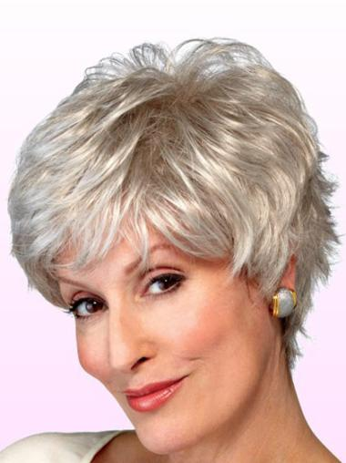 Synthetic Grey Wavy Capless Soft Wigs
