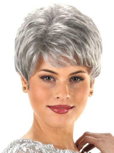Synthetic Grey Wavy Capless Classy Wigs