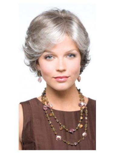 Synthetic Grey Wavy Capless Fashionableable Wigs