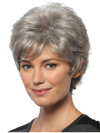 """Short Cheap Wavy 8"""" Capless Grey Wigs"""