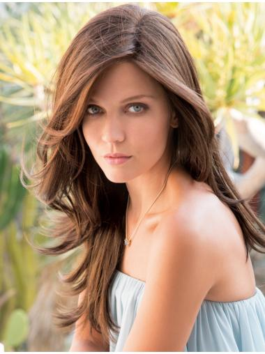 """Layered Straight Brown Synthetic 20"""" Long Hair Wig"""