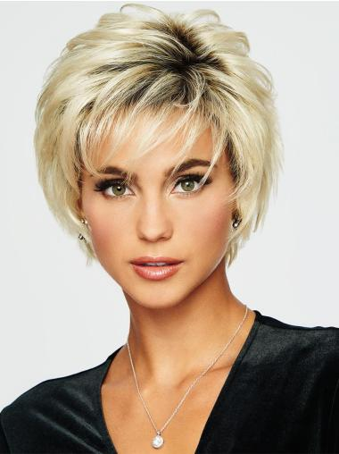 5 Inches Cropped Wavy Boycuts Synthetic Ladies Blonde Wigs