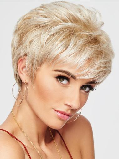 Blonde Capless Wavy 4 Inches Pixie Haircut Wigs