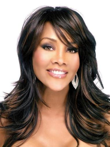 With Bangs Wavy Shoulder Length Brown African Wig