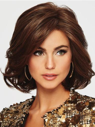 Layered Auburn Monofilament Chin Length Wavy High Top Wig