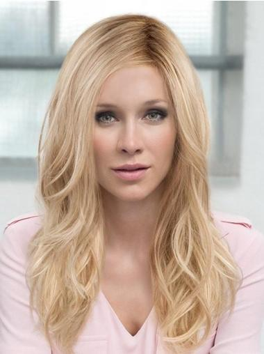 Layered Blonde Monofilament Long Wavy Synthetic Hair Wig