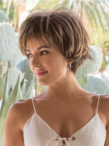 Layered 4 Inches Straight Capless Short Ladies Wig Browns Wigs