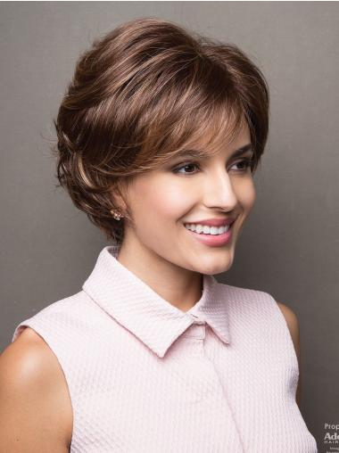 Brown Capless Wavy Bobs With Fringes
