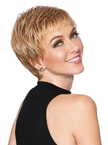 3 Inches Cropped Straight Boycuts Synthetic Blonde Hair Wigs