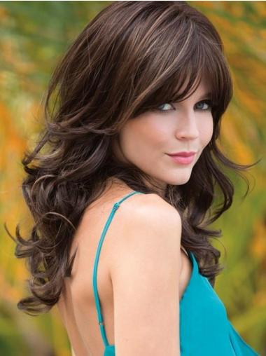 With Bangs 18 Inches Wavy Capless Long Brown Wigs For Women