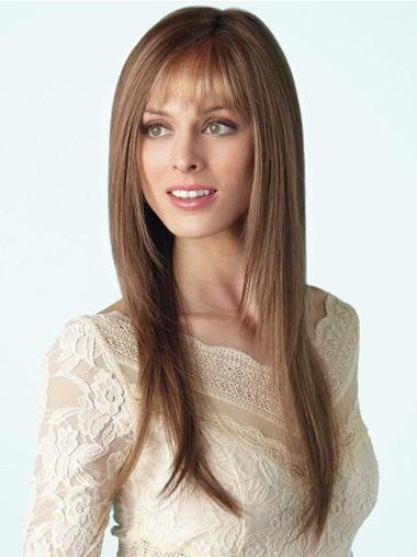 Long 18 Inches Brown Straight With Bangs Lace Wigs Buy