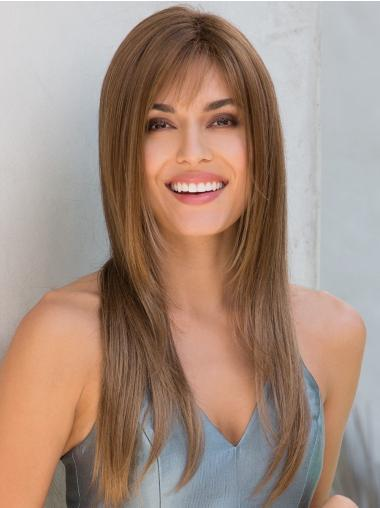 Layered 18 Inches Straight Capless Long Cheap Brown Wig