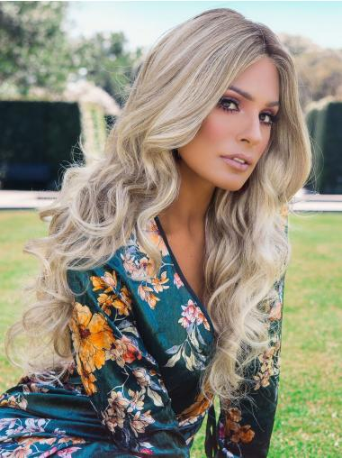 22 Inches Long Wavy Layered Synthetic Quality Blonde Wigs