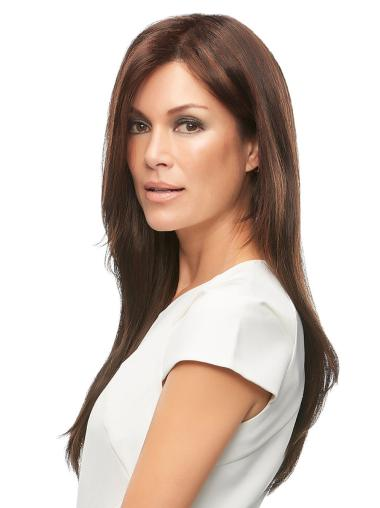 With Bangs 18 Inches Straight Monofilament Long Dark Brown Wigs
