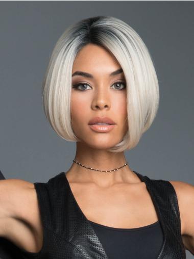 Black to White Monofilament Straight Bob Style Wigs