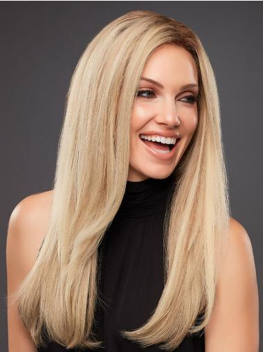 Platinum Blonde 100% Hand-tied Long 18 Inches Human Hair Wig