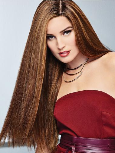 Brown 100% Hand-tied Long 24 Inches Natural Hair Wig
