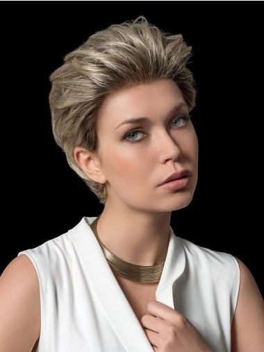 Layered Straight Cropped Blonde Fully Hand Tied Wigs