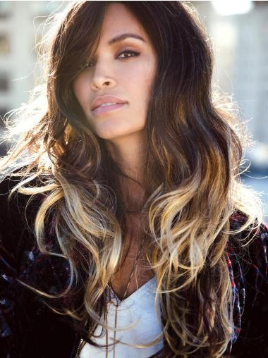 Layered Wavy Long Ombre/2 tone Hand tied Wig