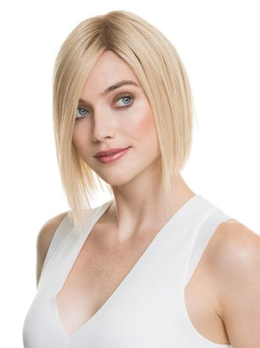 "Blonde 100% Hand-tied 10"" Flexibility Human Hair Wigs"