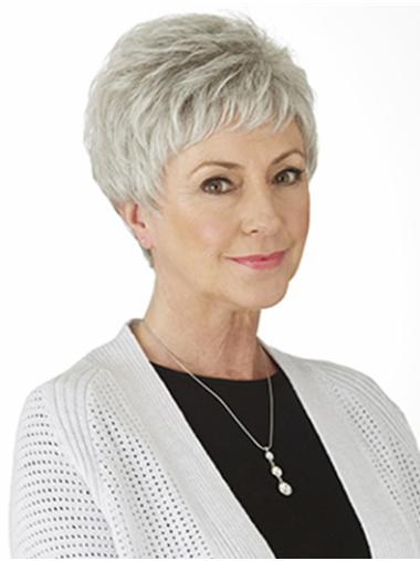 "Sassy Synthetic Straight 4"" Grey Wigs"