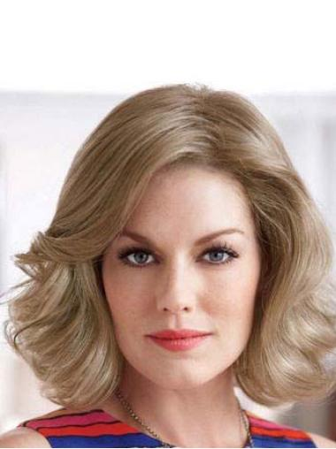 Synthetic Medium Wavy Fashion Blonde Wigs